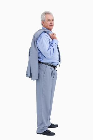 Side view of mature tradesman with his jacket over his shoulder against a white background Stock Photo - 13653067