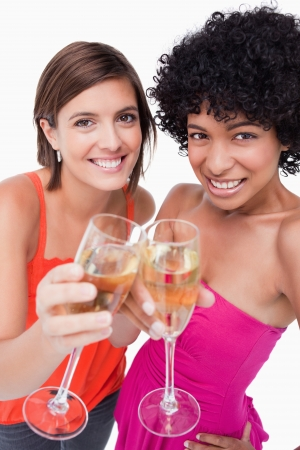 Young females smiling and clinking glasses of white wine photo