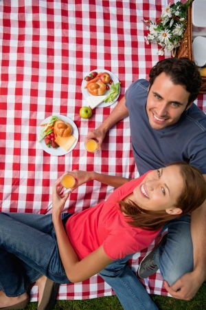Elevated view of two smiling friends looking upwards while they hold glasses as they lie on a blanket with a picnic Stock Photo - 13667384