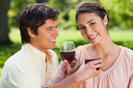 Woman looks ahead while smiling as she is linking arms with her friend and holding glasses of red wine in a park Stock Photo - 13667871