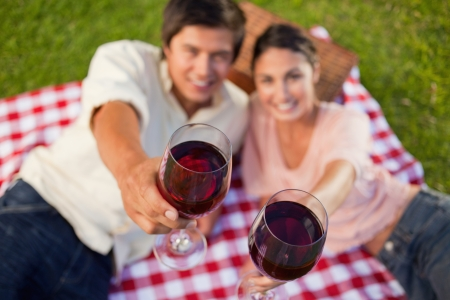 Man and a woman raising their glasses of red wine during a picnic with focus on the glasses of wine photo