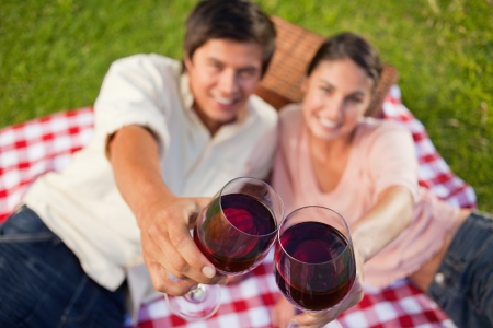 Man and a woman touching their glasses of red while raised during a picnic with focus on the glasses of wine photo
