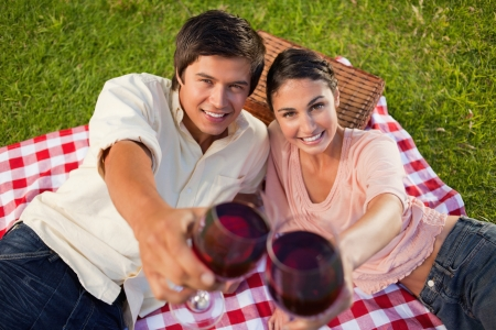 Man and a woman smiling happily as they touch their raised glasses of red wine during a picnic with focus on the glasses of wine photo