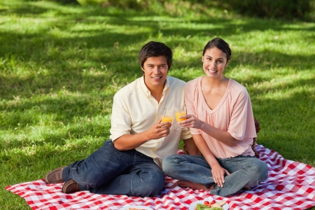 Woman and a man looking straight ahead of them while touching glasses of orange juice during a picnic  photo