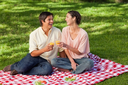 Man and a woman laughing while raising their glasses of orange juice during a picnic photo