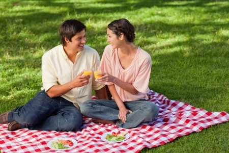 Man and a woman smiling while raising their glasses of orange juice during a picnic photo