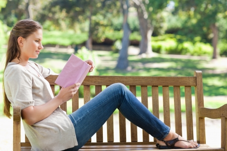 Side view of a young woman reading a novel on a park bench Stock Photo - 13671048