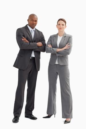 mains crois�es: Un homme d'affaires et de la femme, les mains crois�es