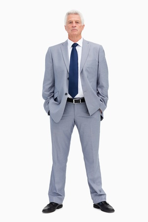 Portrait of a white haired businessman against white background Stock Photo - 13674383