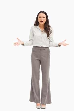 confused woman: Employee confused against white background