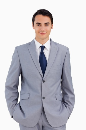 Portrait of a good-looking man against white background photo