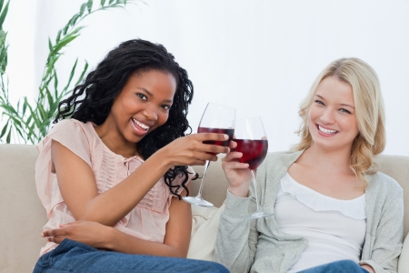 Two women are holding wine glasses and are smiling at the camera Stock Photo - 13670867
