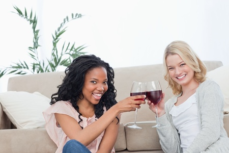 Two smiling women are sitting on the floor holding wine glasses photo