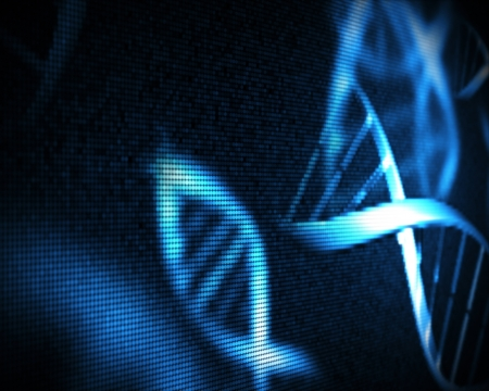 raytrace: Blue DNA helix background Stock Photo