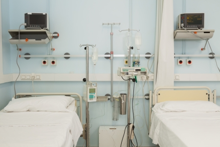 sterile: Two sterile beds in a hospital Stock Photo