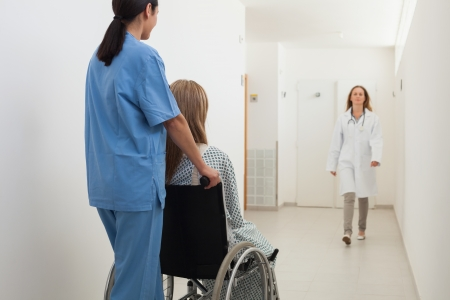 Nurse pushing patient in wheelchair with doctor approaching in hospital corridor Stock Photo - 15590578