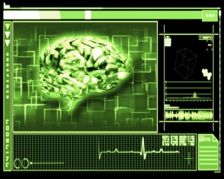 Gr�ner Hintergrund Gehirn-Interface-Technologie Stockfoto