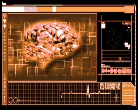 temporal: Orange background brain interface technology Stock Photo