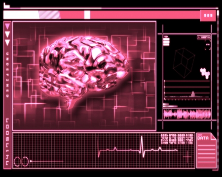 Pink background brain technology photo