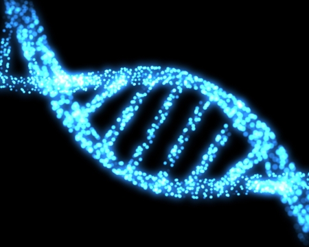 dna sequencing: Blue DNA helix background Stock Photo