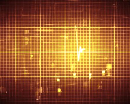 Orange ECG heartbeat on grid photo