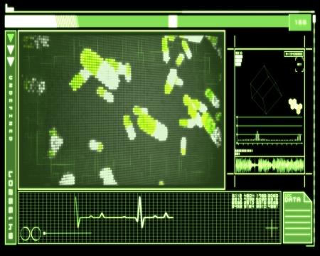 raytrace: Green background pixel pills technology