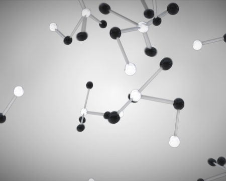 Black and white molecule cells grey background  photo
