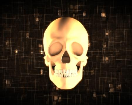 Orange human skull on digital black and orange background photo