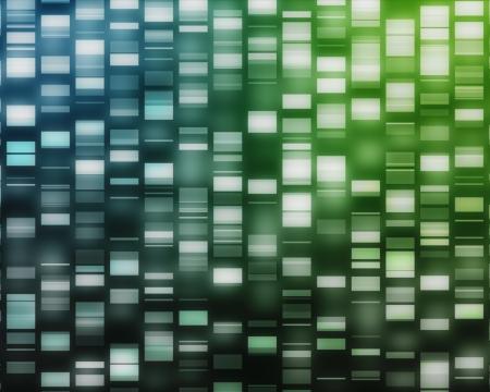 genes: ADN Azul y verde sobre fondo negro hilo Foto de archivo