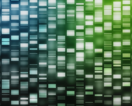 sequencing: Blue and green DNA strand on black background