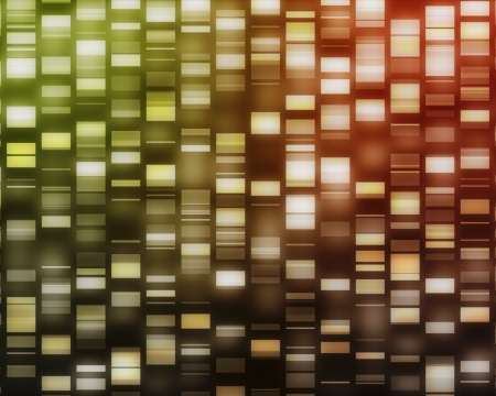 Yellow, red, orange DNA strands on black background photo