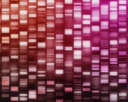 sequencing: Red and pink DNA strands on black background