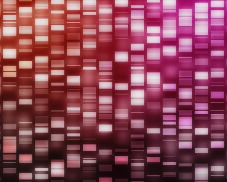 adn humano: Rojo y rosa hebras de ADN en el fondo negro Foto de archivo