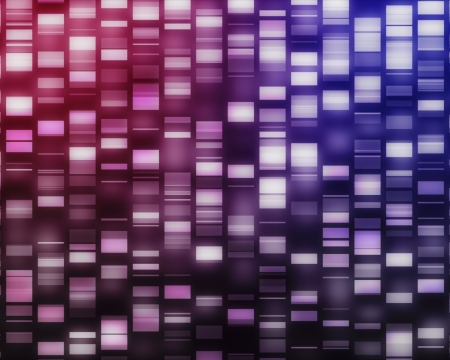 sequencing: Pink and purple DNA strands on black background