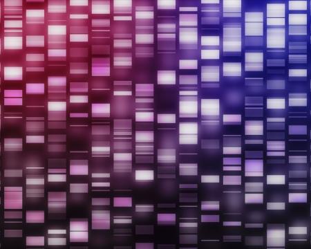 adn humano: Rosa y p�rpura hebras de ADN en el fondo negro Foto de archivo