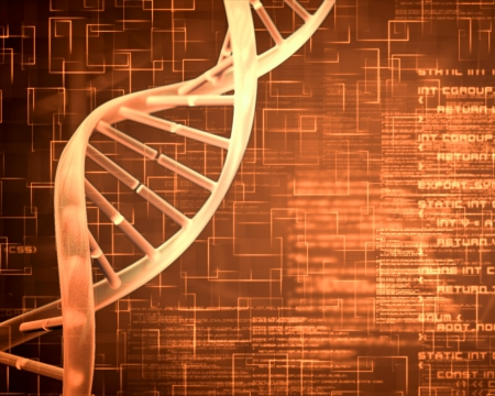 dna test: Orange background DNA Helix squares and text