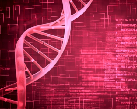 dna strand: Pink background DNA Helix squares and text