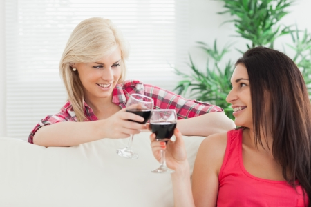 Women sitting on the couch drinking wine together at home photo