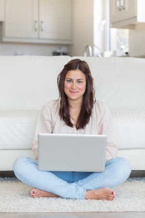 computer user: Woman typing on laptop in the living room Stock Photo