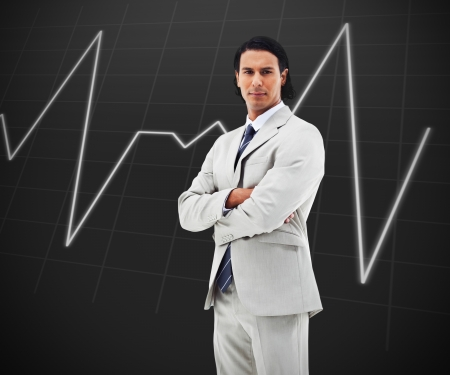 sedate: Man with arms crossed statisgraph on black background
