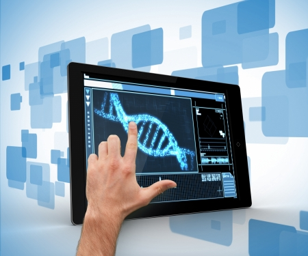 out of context: Man touching tablet pc with DNA interface on blue and white background
