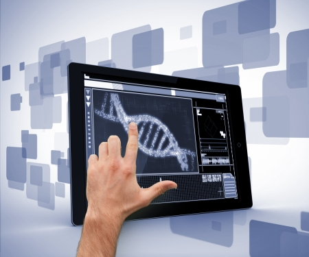 Man pointing at DNA interface on digital tablet on blue and white photo
