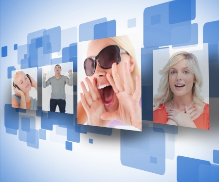 out of context: Four photos on blue digital wall
