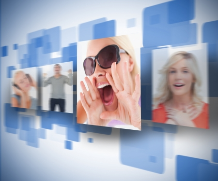 animation teenagers: Four pictures on blue digital wall Stock Photo