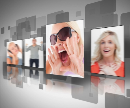 animation teenagers: Digtal black and grey wall displaying four photos out of focus Stock Photo