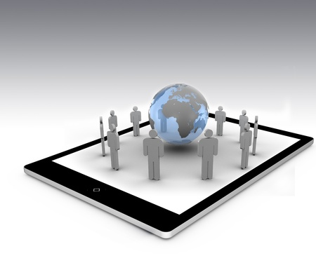 Stick figures standing around the blue globe on a tablet pc Stock Photo - 15583192