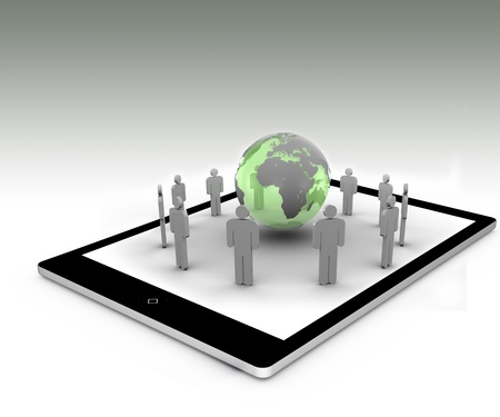 Stick figures standing around the green globe on a tablet pc photo