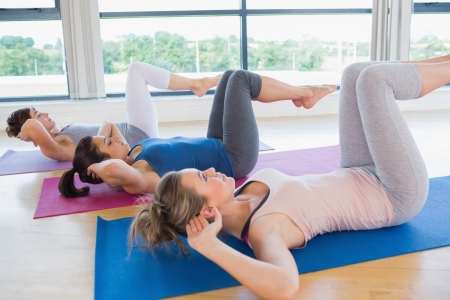 Women doing core exercise on mats in fitness studio photo