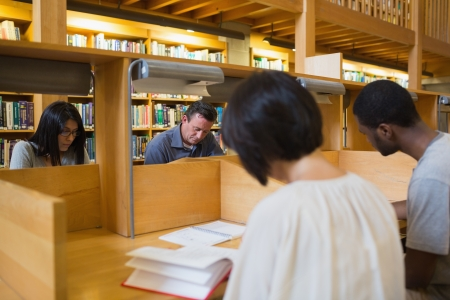 People studying in library photo