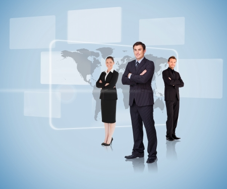 international business: Business people standing in front of a map arms crossed